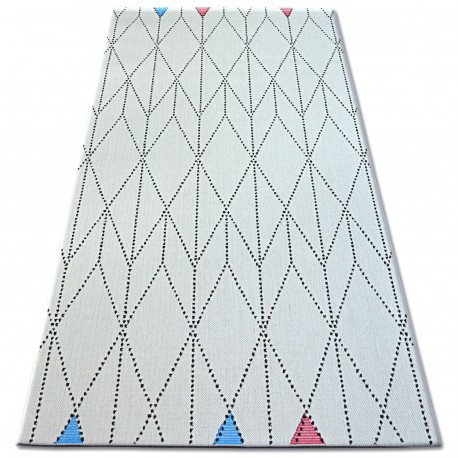 Covor sisal Color 19312/236 Caro Triunghiuri alb
