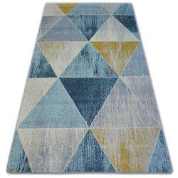 Covor Nordic Triangle albastru si crem G4584