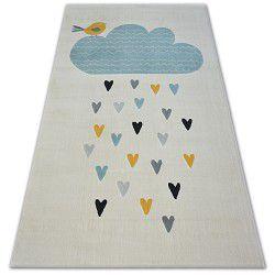 Covor Pastel 18409/062 - Nor Inimă Pasăre crem turcoaz gri