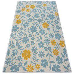 Covor Pastel 18414/062 - Flori crem turcoaz aur