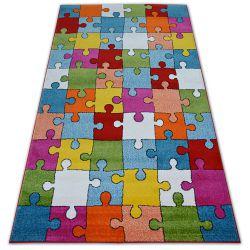 Covor Paint G4775 - Puzzle crem si albastru