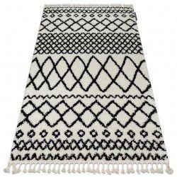 Covor Berber Safi N9040 albsi negru Franjuri shaggy pletos