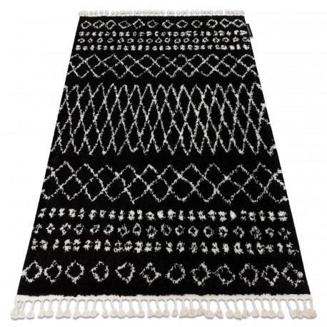 Covor Berber Ethnic G3802 negru si alb Franjuri shaggy pletos