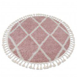 Covor Berber Troik A0010 cerc roz si alb Franjuri shaggy