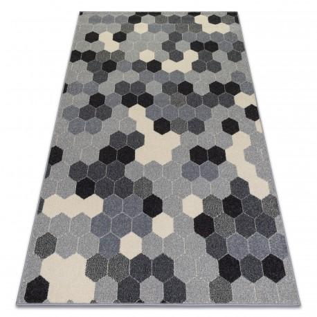 Covor Heos 78537 gri si crem Hexagon