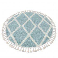 Covor Berber Troik A0010 cerc albastru si alb Franjuri shaggy