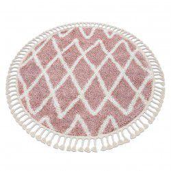 Covor Berber BENI cerc roz Franjuri shaggy