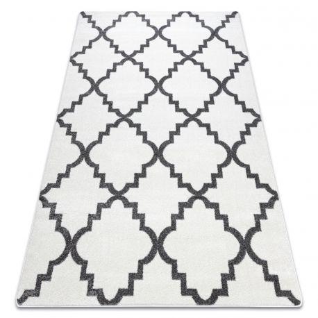 Covor Sketch - F343 alb și gri marocani Trellis