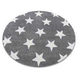 Covor Sketch rotund - FA68 gri și alb - Stea Stele