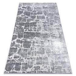 Covor modern MEFE 6184 Pavaj cărămidă structural două niveluri de lână gri inchis