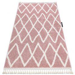 Covor Berber Beni roz Franjuri shaggy pletos