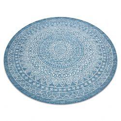 Covor sisal Loft 21207 Rozetă Boho cerc fildeş argintiu albastru