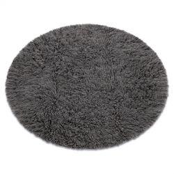Flokati lână rotund gri