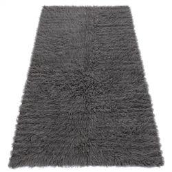 Flokati lână - Cuvertură de pat, carouri gri