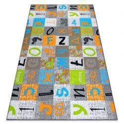 Mocheta pentru copii JUMPY Patchwork, Scrisori, Numere gri / portocale / albastru