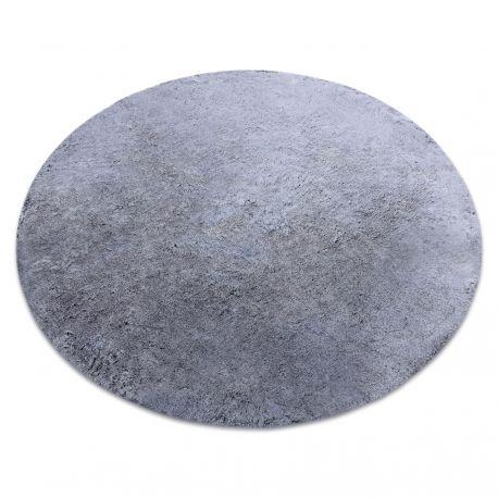 Covor modern de spălat LAPIN cerc shaggy, antiderapant negru / fildeș