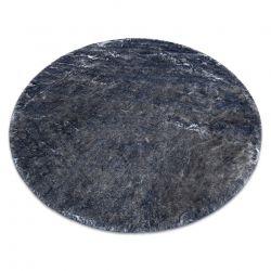 Covor modern de spălat LAPIN cerc shaggy, antiderapant fildeș / negru