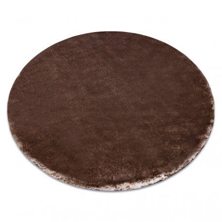 Covor modern de spălat LAPIN cerc shaggy, antiderapant fildeș / ciocolată