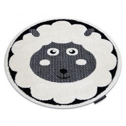 Covor modern pentru copii JOY Cerc Sheep, oaie - structural pe două niveluri de lână crem / negru