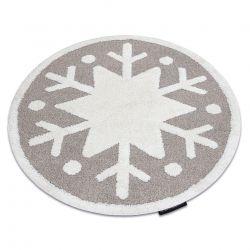 Covor modern pentru copii JOY Cerc Snowflake, Fulg de nea - structural pe două niveluri de lână bej / crem