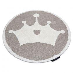 Covor modern pentru copii JOY Cerc Crown, coroană Fulg de nea - structural pe două niveluri de lână bej / crem