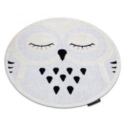 Covor modern pentru copii JOY Cerc Owl, Bufniţă - structural pe două niveluri de lână gri / crem
