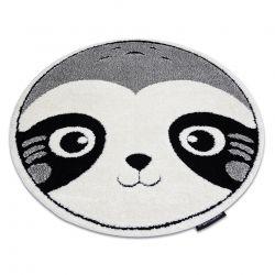 Covor modern pentru copii JOY Cerc Panda structural pe două niveluri de lână gri / crem