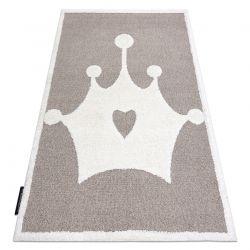 Covor modern pentru copii JOY Crown, coroană Fulg de nea - structural pe două niveluri de lână bej / crem
