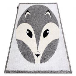 Covor modern pentru copii JOY Fox, vulpe - structural pe două niveluri de lână gri / crem