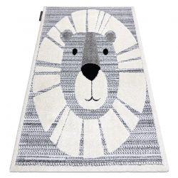 Covor modern pentru copii JOY Lion, Leu - structural pe două niveluri de lână gri / crem