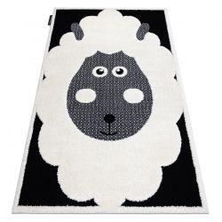 Covor modern pentru copii JOY Sheep, oaie - structural pe două niveluri de lână crem / negru