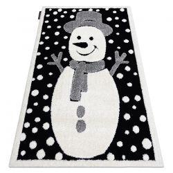 Covor modern pentru copii JOY Snowman om de zapada, structural pe două niveluri de lână negru / crem