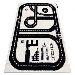 Covor modern pentru copii JOY City, Oraș, străzi - structural pe două niveluri de lână crem / negru