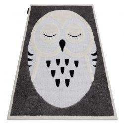 Covor modern pentru copii JOY Owl, Bufniţă - structural pe două niveluri de lână gri / crem