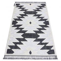 Covor MAROC H5157 Aztec, Etnic alb / negru Franjuri Berber shaggy