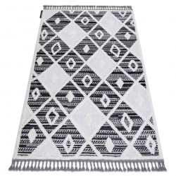Covor MAROC P662 Caro negru / alb Franjuri Berber shaggy