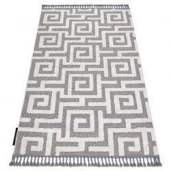 Covor MAROC P655 labirint, greacă gri / alb Franjuri Berber shaggy