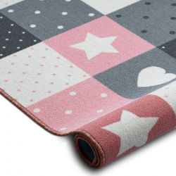 Mocheta pentru copii STARS stele roz / gri