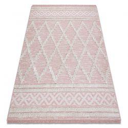 Covor ECO SISAL BOHO MOROC Caro 22297 franjuri - două niveluri de lână roz / cremă, covor reciclat