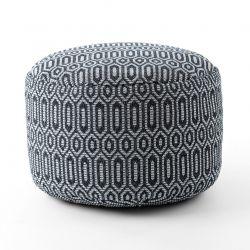 Pouff CILINDRU 50 x 50 x 50 cm suport pentru picioare Boho 22075, pentru șezut negru / gri deschis