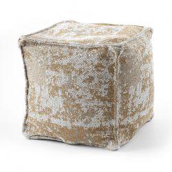 Pouff PATRAT 50 x 50 x 50 cm suport pentru picioare Boho 2809, pentru șezut crema / galben