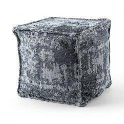 Pouff PATRAT 50 x 50 x 50 cm suport pentru picioare Boho 2809, pentru șezut gri deschis / antracit