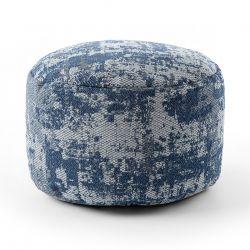 Pouff CILINDRU 50 x 50 x 50 cm suport pentru picioare Boho 2809, pentru șezut gri deschis / albastru inchis