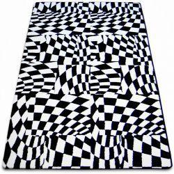 Covor Sketch - F756 alb și negru - Cadrilat