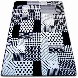 Covor Sketch - F760 alb și negru - Cadrilat